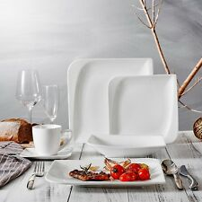 Vancasso Cloris 30-teilig Porzellan Tafelservice Weiß, Eckiges Geschirrset