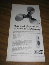 1962 Print Ad Champion Spark Plugs Outboard Motor Boat Propellor