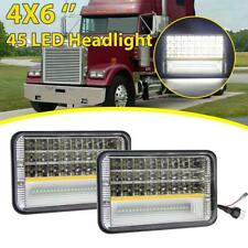 2pcs 4x6'' LED Headlight For Kenworth T800 Freightliner FLD120 Peterbilt 379 378
