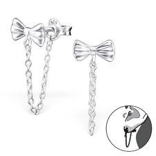 Sterling Silver 925 Bow & Chain Ear Jacket / Double Earrings