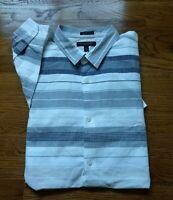 BANANA REPUBLIC GRANT FIT Long sleeve button down shirt XL Linen Blend Striped