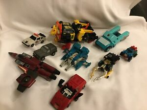 Vintage Mixed Lot Of 80s Hasbro Takara Transformers X9 lion police plane G1