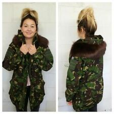 CAMOUFLAGE WINTER JACKET - FUR HOOD - VINTAGE FASHION - ALL SIZES - WOMEN'S