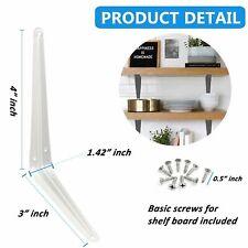 "Wideskall Metal 3"" X 4"" Inch Wall Corner Angle Shelving Shelf Brackets White 4"