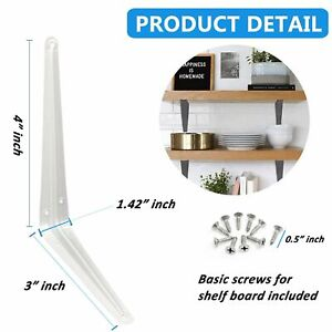 Steel Metal Wall Shelf Brackets White Gray for Book Contertop Support
