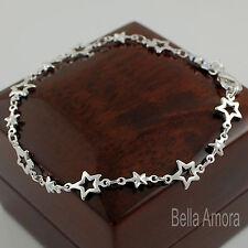 Stunning 925 Stamped Sterling Silver Plt Open Stars Chain Link Bracelet New 106