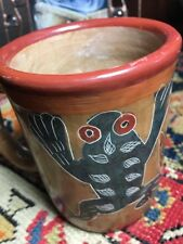 Folk Art Mug handmade pottery clay; incised frogs; naive design; unique Mexico?