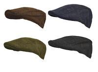 Mens Classic Wool Blend Derby Tweed Check Moleskin Waterproof Hat Flat Cap M-XL