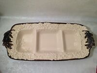 """VTG Ceramic Relish Dish 3 Sections Divided Serving Tray Plate 15""""X7"""" Brown Beige"""