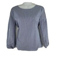 Pink Rose Womens Top 3/4 Sleeve Striped Size M Blue 100% Cotton Smock Blouse NEW