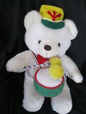 "VTG Cuddle Wit  Drummer Boy Drum Plush Stuffed Teddy Bear Xmas Animal 20"" White"