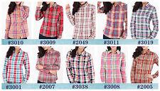 Women's Regular Plaids Checks Cotton Blend Button Down Shirt Tops & Blouses
