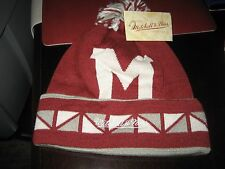 MENS MONTREAL MAROONS 2 FACE Mitchell & Ness Winter BEANIE HAT MAROON/GRAY  NWT