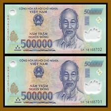 2 Pcs X Vietnam (500 Thousand) 500000 500,000 Dong =1 Million, 2013-2018 New VND