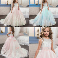 Lace Girl Princess Bridesmaid Pageant Tutu Tulle Gown Party Wedding Dress