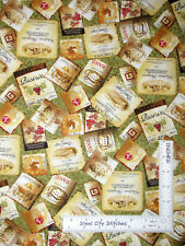 Tuscan Delight Wine Labels Green Cotton Fabric #90504 Wilmington By The Yard