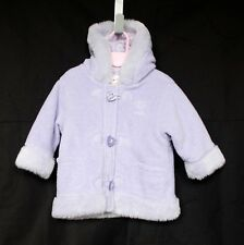 NEXT baby girl's lilac fur trimmed hooded fleece jacket Age 9-12 mths