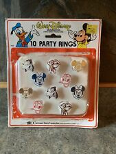 Vintage Carrousel Party Favors Walt Disney 10 Party Rings On Card Mickey/Pluto