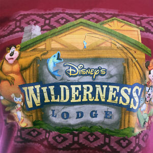 """Disney Men's T-shirt """"Wilderness Lodge"""" Mickey and Friends -Cabin-Camping Size:M"""