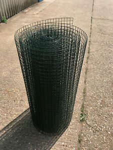 "Green PVC Wire Mesh 3ft 1"" 16G/14G 30 Meters Roll Cat Safe Mesh Dog Fox Proof"