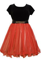 NWT Bonnie Jean Holiday DRESS 14 Black Velvet Top Red Skirt Special Occasion