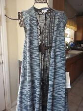 Lularoe Joy Long Line Vest Medium Olive Green and White Light Knit!! Brand New!!