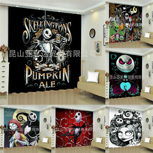 The Nightmare Before Christmas Window Curtain Panels Blackout Drapes for Bedroom