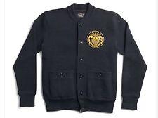 $590 RRL Ralph Lauren Made in USA Navy Thick Cotton Baseball Varsity Jacket-XXL