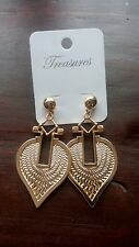 treasures gold tone earrings BNWT
