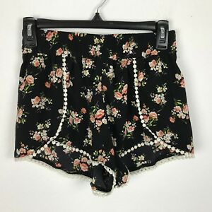 Love Tree Shorts Size M Black Pink Purple Floral Polyester Boho Womens
