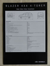 Chevrolet Blazer LT 4x4 - Preisliste MJ 2001 - Prospekt Brochure 11.2000