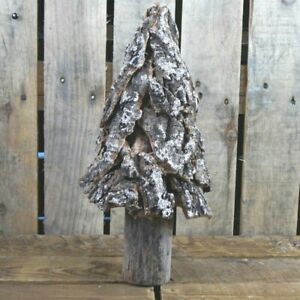 Large Rustic Bark Tree Christmas Ornament With Gold Glitter