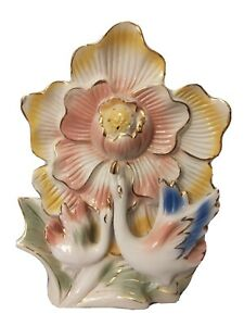"""Table Top Decor Figurine Sculpture Pink Yellow Gold Magnolia 2 Ducks Geese 11"""""""