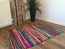 ❤️SHABBY CHIC RAG RUG MULTI COLOURED WITH FRINGED EDGES 60cm x 90cm FAIR TRADE
