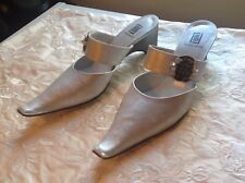 France Mode Silver Leather Mary Jane Mules EU 40 / US 10B / UK 7 Made in France