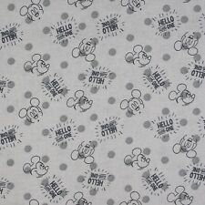 New listing Disney Mickey Hello Little One Gray 100% Cotton Fabric by The Yard