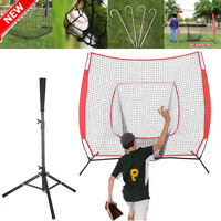 7'×7' Baseball Softball Practice Net +Portable Batting Tripod Tee Training W/Bag