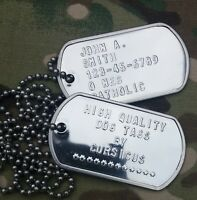 US ARMY PERSONALIZED SHINY DOG TAGS. MUST SEE! FREE SHIPPING