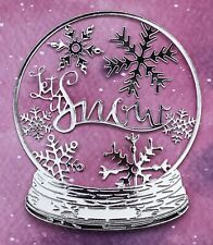4 Snow Globe Glitter Dome Crystal Ball + Snowflakes Card Topper Craft Xmas 32pcs