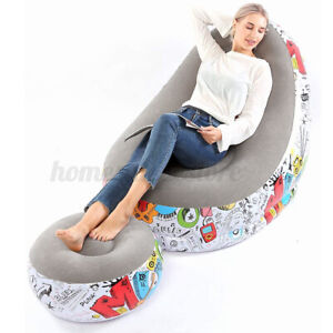 Large Inflatable Lounge Chair Ottoman Set Portable Sofa Footrest Home Office US