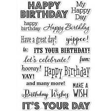 Hero Arts It's Your Day Birthday Wishes 4 X 6 CL661 Clear Cling Stamp Set of 17