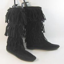 Black Flat Round Toe Frill On Top Sexy Mid-Calf Boot Size 8