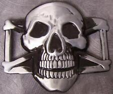 Metal Belt Buckle Pirate Skull and Cross Bones NEW