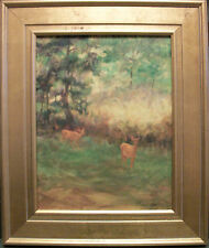DEER in Forest Oklahoma Wildlife oil painting by Margaret Aycock original