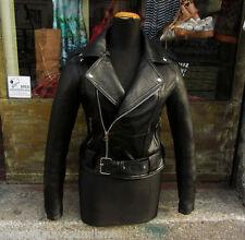 Giubbotto giacca chiodo pelle morbida donna nero metal rock moto Guendj