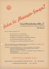 Werbung Sinacid Neutralisations-Aktiv S Abwasser-Neutralisierung Prospekt 1957