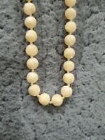"""VINTAGE MOP MOTHER OF PEARL  BEADED NECKLACE hand knoted 16"""" beautiful see pics!"""