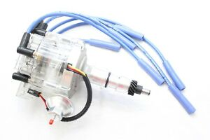 Clear HEI Distributor Coil Blue 8.5mm Spark Plug Wires 1965-86 Ford 240 300 L6