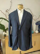 STILE LATINO (Attolini) Blue Herringbone Linen Cotton Jacket size 40 UK / 50 EU