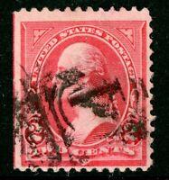 USA 1894 Washington 2¢ Carmine Triangle C Unwatermarked Scott 252 VFU I735